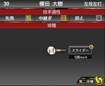プロスピA 2019S1:榎田大樹選手データ