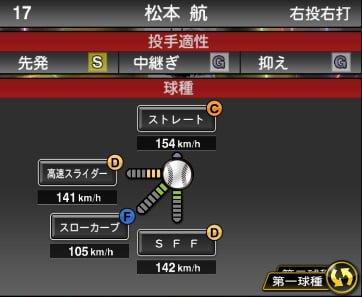 プロスピA 2019S1:松本航選手データ