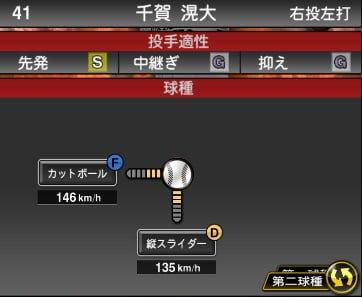 プロスピA 2019S1:千賀滉大選手データ