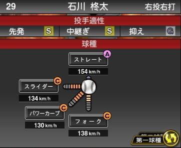 プロスピA 2019S1:石川柊太選手データ