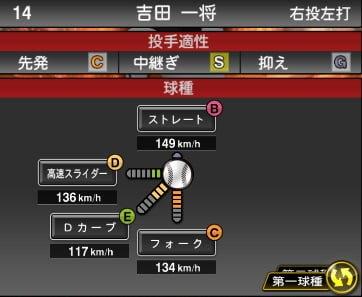プロスピA 2019S1:吉田一将選手データ
