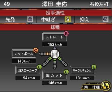 プロスピA 2019S1:澤田圭佑選手データ