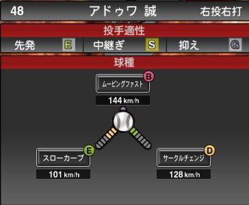 プロスピA 2019S1:アドゥワ誠選手データ