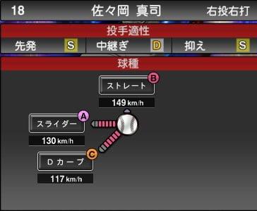 プロスピA 2019S1:佐々岡真司選手データ