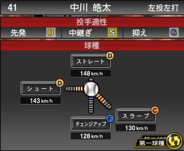 プロスピA 2019S1:中川皓太選手データ