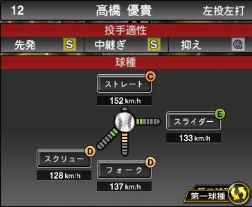 プロスピA 2019S1:高橋優貴選手データ