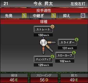 プロスピA 2019S1:今永昇太選手データ
