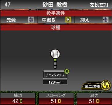プロスピA 2019S1:砂田毅樹選手データ