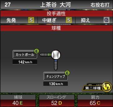 プロスピA 2019S1:上茶谷大河選手データ