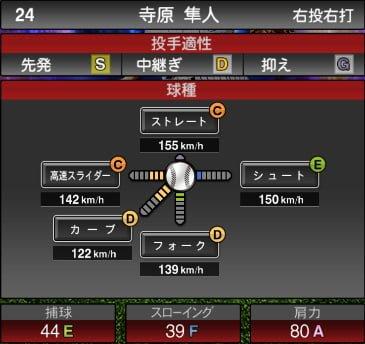 プロスピA 2019S1:寺原隼人選手データ