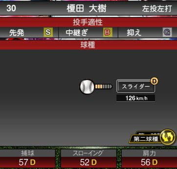 プロスピA 2019S1:EX1:榎田大樹選手データ