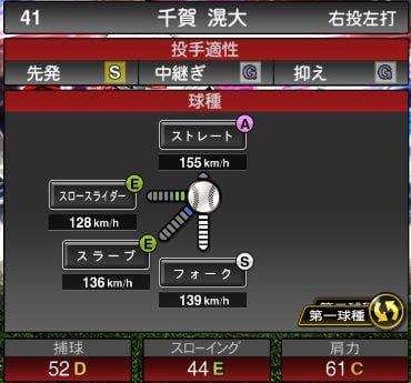 プロスピA 2019S1:EX2:千賀滉大選手データ