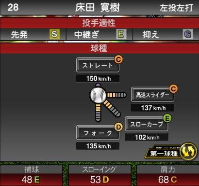 プロスピA 2019S1:期待の若手:床田寛樹選手データ