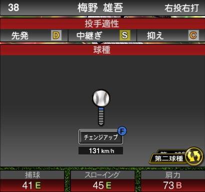 プロスピA 2019S1:期待の若手:梅野雄吾選手データ