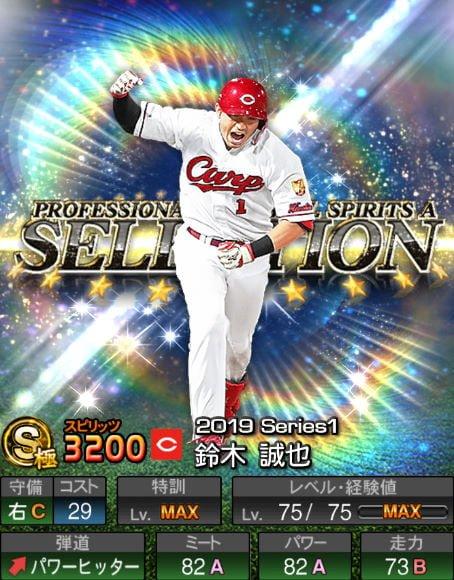 プロスピA 2019Series1:プロスピセレクション第1弾:鈴木誠也選手データ