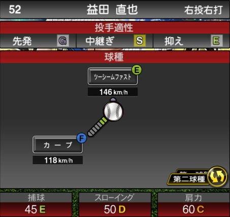 プロスピA 2019Series1:プロスピセレクション第1弾:益田直也選手データ