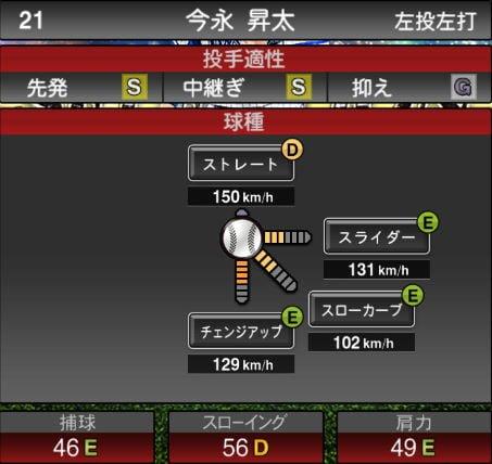 プロスピA 2019Series1:プロスピセレクション第1弾:今永昇太選手データ