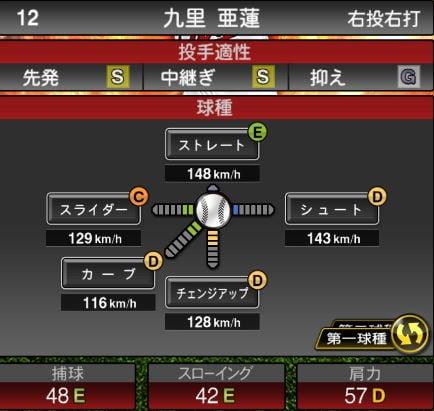 プロスピA 2019Series1:【8/1追加先発】九里亜蓮選手データ