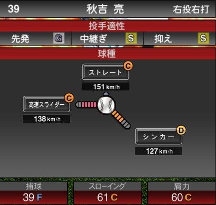 プロスピA 2019Series1:【8/1追加中継ぎ】秋吉亮選手データ