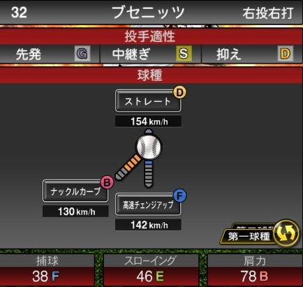 プロスピA 2019Series1:【8/1追加中継ぎ】ブセニッツ選手データ