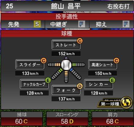 プロスピA 2019Series1:8/7追加TS5弾:館山昌平選手データ