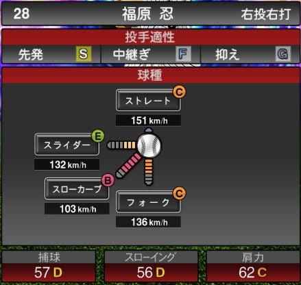 プロスピA 2019Series1:8/7追加TS5弾:福原忍選手データ