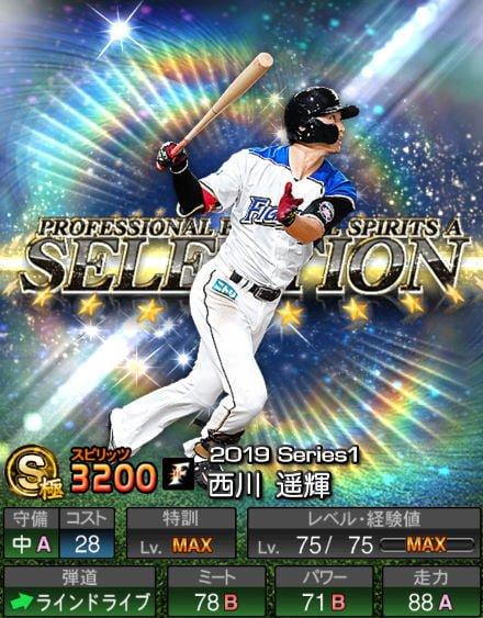 プロスピA 2019Series1:プロスピセレクション第2弾:西川遥輝選手データ