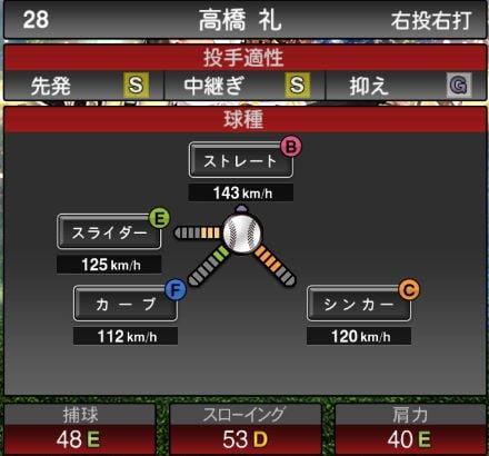プロスピA 2019Series1:プロスピセレクション第2弾:高橋礼選手データ