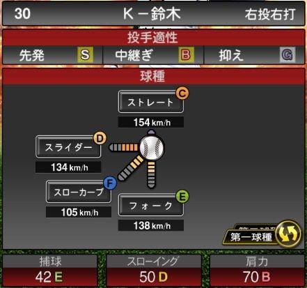 プロスピA 2019Series1:K-鈴木選手データ