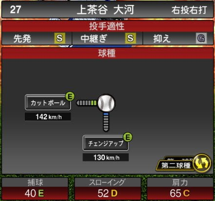 プロスピA 2019Series1:上茶谷大河選手データ