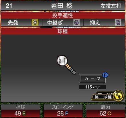 プロスピA 2019Series1:岩田稔選手データ