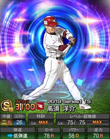 プロスピA 2019Series1:8/27追加TS6弾:高須洋介選手データ