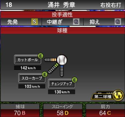 プロスピA 2019Series1:8/27追加TS6弾:涌井秀章選手データ