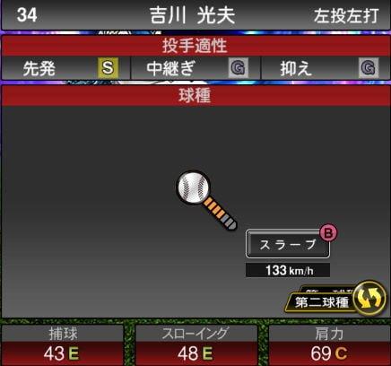 プロスピA 2019Series1:8/27追加TS6弾:吉川光夫選手データ
