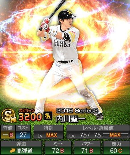 【9/6更新】プロスピA 2019Series2:一塁手:内川聖一選手のステータス