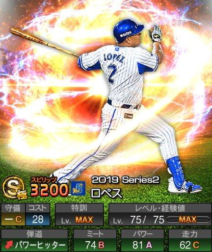 【9/6更新】プロスピA 2019Series2:一塁手:ロペス選手のステータス