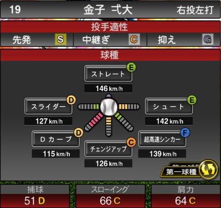 【プロスピA】10/2更新先発投手が追加!2019Series2:金子弌大選手のステータス