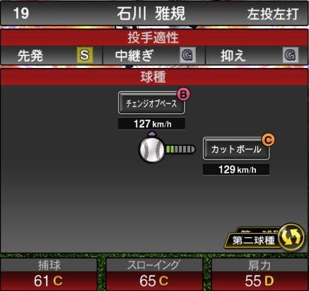 【プロスピA】10/2更新先発投手が追加!2019Series2:石川雅規選手のステータス