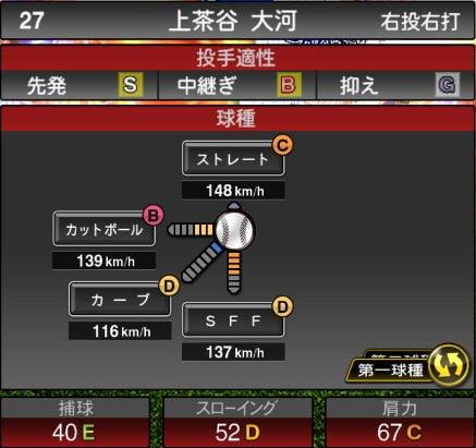 【プロスピA】10/2更新先発投手が追加!2019Series2:上茶谷大河選手のステータス