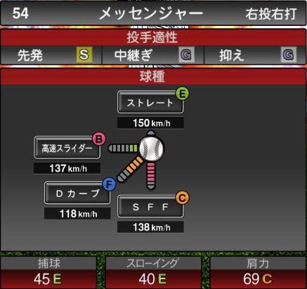 【プロスピA】10/2更新先発投手が追加!2019Series2:メッセンジャー選手のステータス