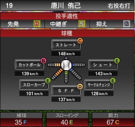 【プロスピA】10/9更新中継ぎ投手が追加!2019Series2:唐川侑己選手のステータス