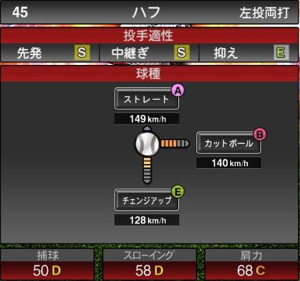 【プロスピA】10/9更新中継ぎ投手が追加!2019Series2:ハフ選手のステータス
