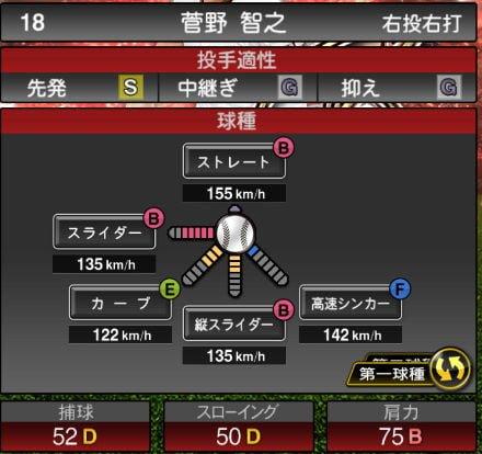 【プロスピA】10/24アニバーサリー選手第2弾が登場!2019Series2:菅野智之選手のステータス&評価