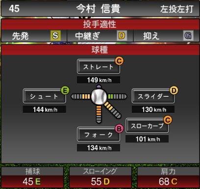 【プロスピA】ローテーションチャレンジャー追加!2019Series2:今村信貴選手のステータス&評価