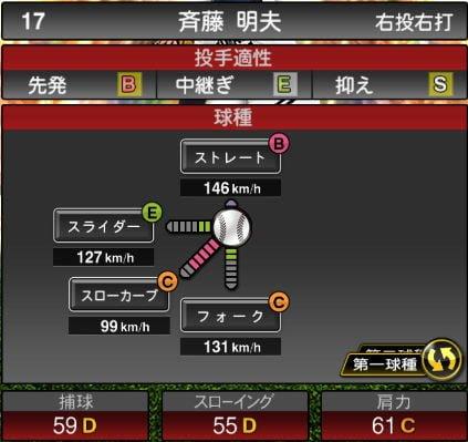 【プロスピA】2019Series2:斉藤明夫選手のステータス&評価
