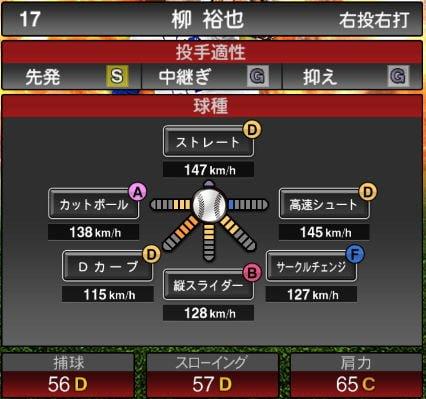 【プロスピA】2020Series1:柳裕也選手のステータス&評価