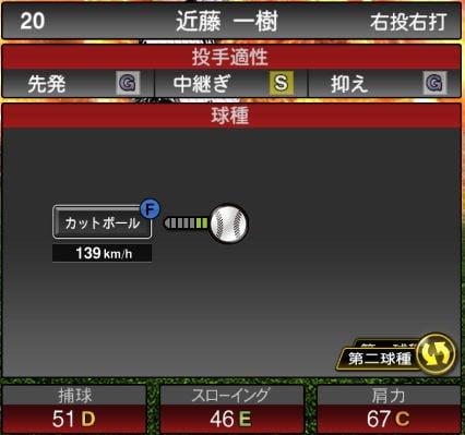 【プロスピA】2020Series1:近藤一樹選手のステータス&評価