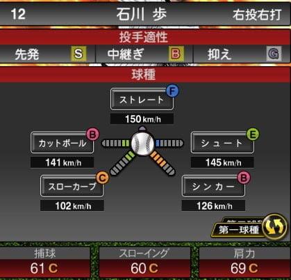 【プロスピA】2020Series1:石川歩選手のステータス&評価