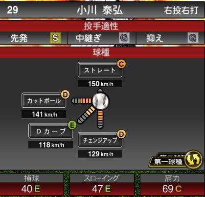 【プロスピA】2020Series1:小川泰弘選手のステータス&評価