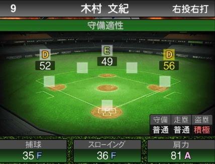 【プロスピA】2020Series1:木村文紀選手のステータス&評価